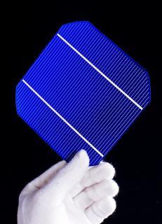 Solarzelle von Canadian Solar in der werkseigenen Qualitätsprüfung