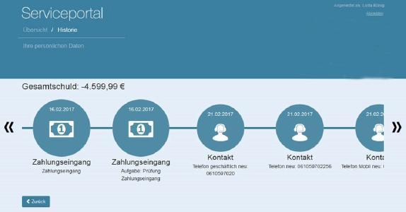 SUBITO FMM Schuldner Portal Historie