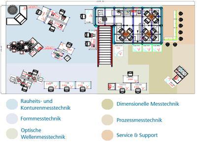 Grundriss Messestand mit Produktbereichen - Messestand Control2012