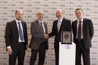 From left to right: Richard Moulié, Supplier Development Manager PSA, Pascal Gignoux, Supplier Development Executive Director of Powertrain and Chassis PSA at the presentation of the award along with Dr. Andreas Mueller, President Pierburg s.r.o and Rémi Robin, Sales Manager, Pierburg France