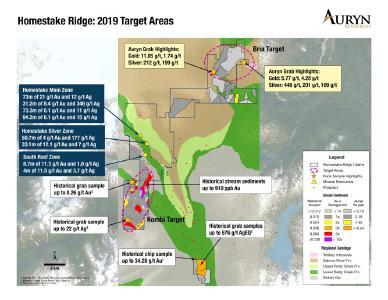 Veranschaulicht die zwei neu definierten regionalen Zielgebiete nordöstlich und südlich der Ressourcengebiete des Homestake Ridge. Das Ziel Bria im Nordosten wurde in Auryns Programm für 2018 durch Sediment- und Gesteinssplitterproben bestimmt, und das Ziel Kombi im Süden wurde durch historische Flusssedimentergebnisse definiert