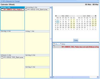 Kalenderansicht der OMNITRACKER Version 9