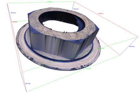 Formmessung des Gehäuseinneren eines Zahnimplantats mit InfiniteFocus in Echtfalschfarbendarstellung. Das 3D Messgerät liefert die Topographie mit punktgenauer registrierter Farbinformation.