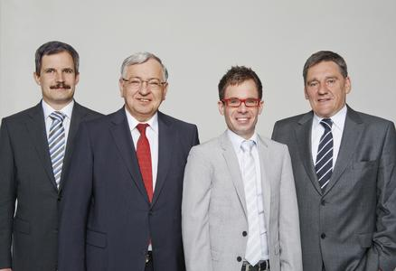 v. l. n. r.: Herr Dr. Schittenhelm, Herr Dr. Spanner, Herr Spanner, Herr Ludwig