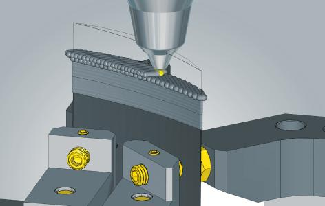 Hybride Bearbeitung mit hyperMILL® ADDITIVE Manufacturing: Reparatur einer Turbinenschaufel / Quelle: OPEN MIND