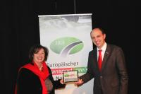 Petra Adrianowytsch and Thomas Eschey are delighted at winning the prize in the all-important semi-trailer category