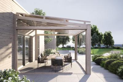 Le système de toit de terrasse heroal OR se distingue par son design intemporel, ses portées impressionnantes et ses nombreuses possibilités de combinaison / © heroal