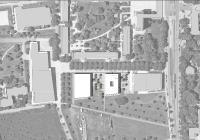 Der Neubau und ein möglicher Erweiterungsbau (weiß) greifen die südliche Bauflucht der Bestandsgebäude auf.