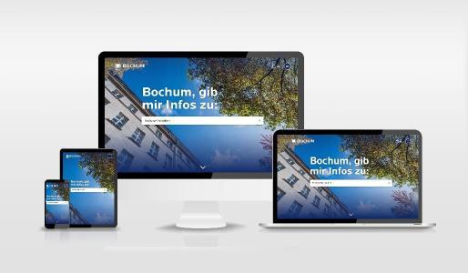 Attraktiv und einfach zu bedienen auf jedem Gerät: Die Startseite des neuen Stadtportals der Stadt Bochum unter www.bochum.de