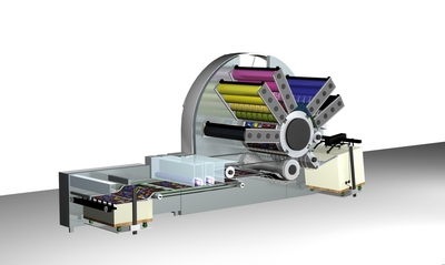 3D view of the Genius 52UV with the five waterless anilox short inking units arranged in a star shape around a common four times as large counter pressure cylinder