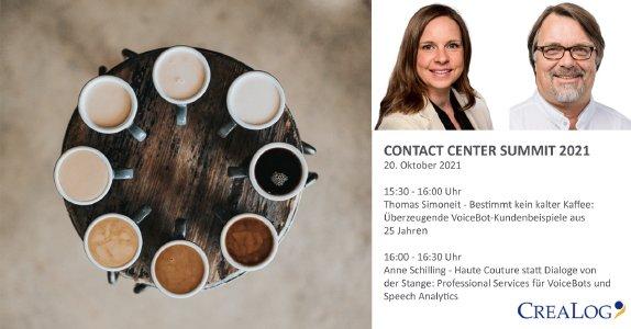 Auf der virtuellen Kongressmesse 'Contact Center Summit 2021' präsentiert VoiceBot-Evangelist Thomas Simoneit überzeugende CreaLog-Kundenbeispiele aus 25 Jahren, die lange noch kein kalter Kaffee sind. Direkt im Anschluss zeigt die Informatikerin und Theoretische Linguistin Anne Schilling in ihrer Technik-Demo unter dem Titel 'Haute Couture statt Dialoge von der Stange' unter anderem, wie CreaLog marktführende Spracherkenner und andere Voice-Technologien benchmarkt.