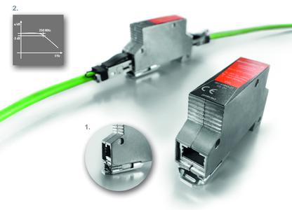 Weidmüller VARITECTOR DATA CAT6: Surge voltage protection device for Ethernet applications. Detail 1: A robust metal foot provides the safe discharge. Detail 2: With an increased limit frequency of 250 MHz, the surge voltage protection is ideally suited to 1GBASE-T applications.