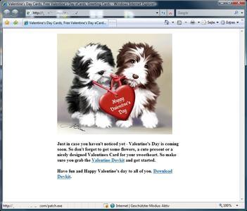 Gefährliche Grüße: Screenshot einer präparierten Valentins-Webseite