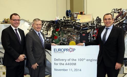 (from left to right) Stefan Morgenstern, Director Engine Maintenance Assembly and Testing, MTU Aero Engines, Antoine Vieillard, EPI Head of Operations, and Gerhard Bähr, Director TP400 / Tyne Programs, MTU Aero Engines