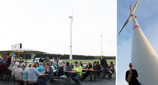 Saxophone, food and drink against a 22 MW turbine backdrop