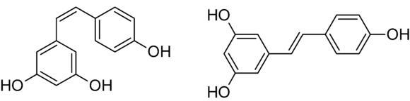 Abb. 6 cis- (links) und trans- (rechts) Resveratrol