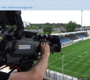 Blick hinter die Kulissen beim Aufbau für die Fernsehübertragung beim Eurobowl in Frankfurt
