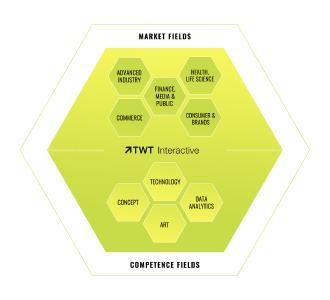 Grafik: Schematische Aufteilung der TWT Interactive in Market und Competence Fields