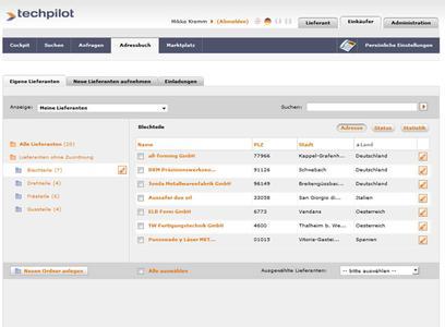 Lieferantenmanagement im technischen Einkauf: Techpilot erlaubt jetzt, Lieferanten im Adressbuch ganz individuell zu organisieren, beispielsweise nach Warengruppen.