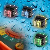 Washable Illuminated Pushbutton Switch Series from knitter-switch is available in four LED Colours
