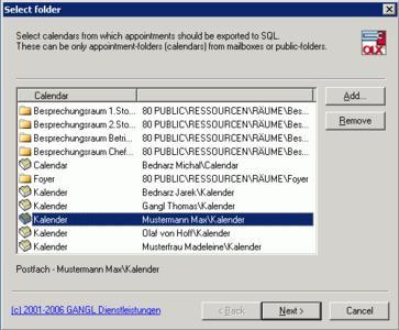 Übertragen beliebiger Kalenderdaten in SQL-Datenbanken zur weiteren Verarbeitung