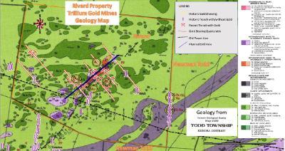 Abbildung 1: Geologische Karte des Grundstücks Rivard mit Gräben, Goldvorkommen an der Oberfläche und goldhaltigen Adern