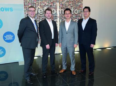Freuen sich auf eine erfolgreiche Partnerschaft: (v. l.) Stefan Liss, Samsung SDS Deutschland, Marco Gocht, ISEC7 Group AG, Taewon Song, Samsung SDS Europa, Steve Kim, Samsung SDS International