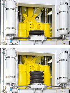 In use: Pneumatic air actuators from ContiTech as press cylinders (Photo: ContiTech)