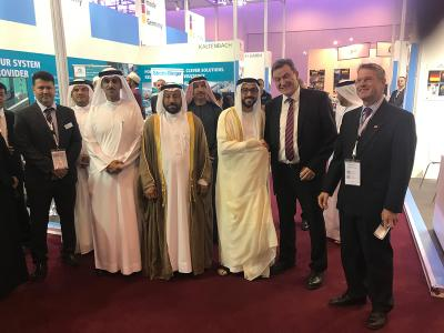 Prof. Dr.-Ing. Heinrich Flegel (DVS President, 2nd from right) and Sheikh Fahim Bin Sultan Al Quasimi (Chairman of the Department of Government Relations, 3rd from right), Saif Al Midfa (Chief Executive Officer of the fair centre called the Expo Centre Sharjah, 2nd from left), HE Abdullah Bin Sultan Al Owais (Chairman of the Sharjah Chamber of Commerce and Industry and Chairman of the Expo Centre Sharjah, 3rd from left), Günter Rauer (Consul General, far right) (Source: DVS)