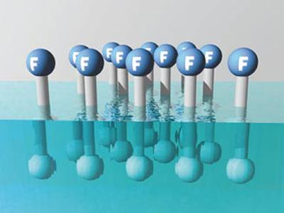 The careful aligning of the fluorosurfactant molecules within the target formulation causes the desired reduction in surface tension