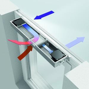 So funktioniert Schüco VentoTherm: Die gefilterte Frischluft wird durch die verbrauchte Raumluft berührungslos erwärmt und anschließend dem Raum zugeführt