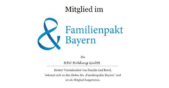 Familienpakt Mitgliedsurkunde HFO Holding GmbH