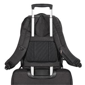 Thanks to a pass-through strap on the back, the Studio can be fastened easily to a luggage cart handle on longer trips