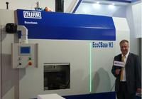Markus Reissmann, General Manager Dürr Ecoclean Shanghai, presents the EcoCBase W3 at CIMES trade show, Beijing