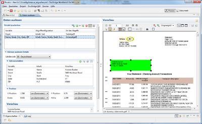 DocBridge Mill Plus 1.2 liest die Daten wie Name, Adresse, Auftrags-/Rechnungsnummer etc. direkt aus dem Datenstrom oder greift sie alter-nativ von den Dokumentseiten selbst ab.