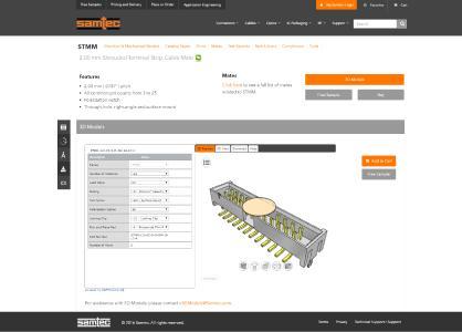 Samtecs neuer Interaktiver Produktkonfigurator und Elektronischer Produktkatalog basierend auf der eCATALOGsolutions Technologie von CADENAS