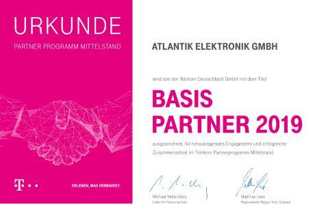 Atlantik Elektronik als Telekom Basis Partner 2019 ausgezeichnet