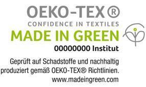 """""""Made in Green by OEKO-TEX®"""" ist ein unabhängiges Textil-Label zur Kennzeichnung von Verbraucherartikeln und Textilien aus allen Stufen der textilen Wertschöpfungskette, die aus schadstoffgeprüften Materialien mit umweltfreundlichen Prozessen sowie unter sicheren und sozial verantwortlichen Arbeitsbedingungen hergestellt wurden. www.madeingreen.com"""