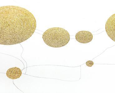 Syria Tracker, Bleistiftzeichnung auf Foamboard, goldene Stecknadeln, 2013