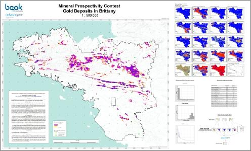 Predictive map for gold in Brittany compiled by using advangeo® Prediction Software