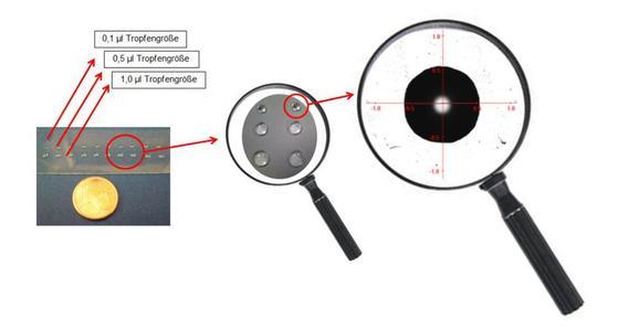 Zum Vergleich: 1 Mikroliter ist der millionste Teil eines Liters und von der Größe her vergleichbar mit einem kleinen Tautropfen.