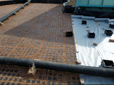 The filled drainage and water storage element, Floradrain® FD 60 is then covered with a system SF filter sheet, Photo: ZinCo