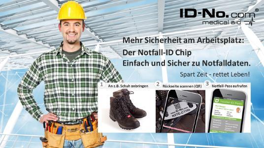 Mehr Sicherheit im Berufsalltag mit ID-No.com: Bei Unfall am Arbeitsplatz sofort Notfall-Informationen abrufen
