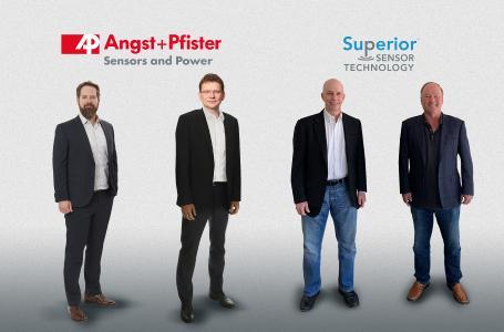 Von rechts nach links: Superior Sensor Technology: Jim Finch, CEO; Tim Shotter, CTO; Angst+Pfister Sensors and Power: Thomas Röttinger, CEO; Philipp Kistler, Segment Manager