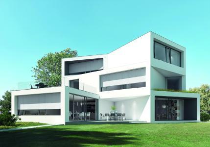 Im privaten Wohnungsbau können plane und großflächige Ansichten mit dem textilen Sonnenschutz Schüco ZIP Design Screen realisiert werden