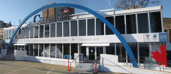 """Der """"Canada Pavillon"""", das zweigeschossige Losberger Zelt Emporium bei den olympischen Spielen in Vancouver"""