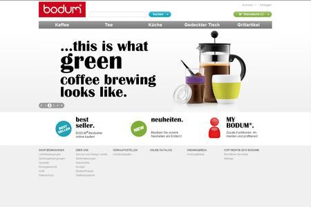 Screenshot des Onlineshops www.bodum.com