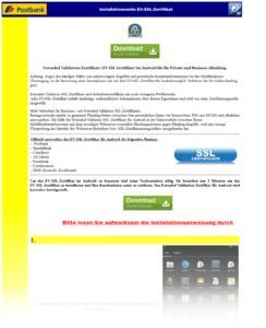 Screenshot der Webseite mit der Installationsanleitung und der Schad-App zum Download