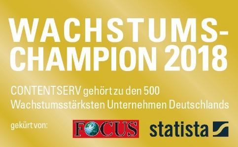 Statista und Focus haben Contentserv erneut zum Wachstumschampion gewählt