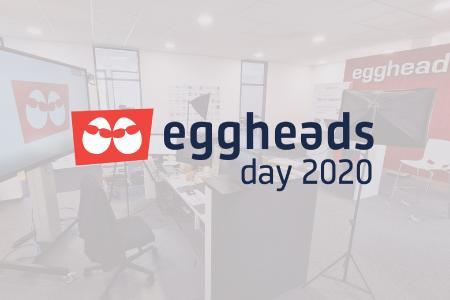 eggheads day 2020 Set mit eggheads day Logo im Vordergrund.